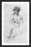 Study sheet with Christ as Man of Sorrows and a garment study Picture Frame print