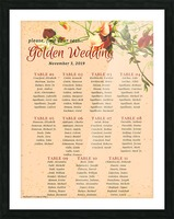 Maroon Floral Vintage Spring Formal Seating Chart Picture Frame print