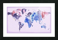 Watercolor Silhouette World Map Lilac Blue And Purple Picture Frame print
