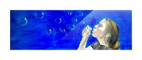 Blowing bubbles Picture Frame print