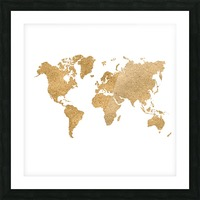 GOLD GLITTER WORLD MAP Picture Frame print