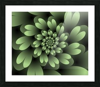 Green Floral Satin Wallpaper Picture Frame print