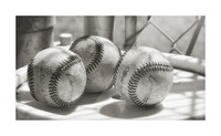 3 Baseballs on a Bucket in Sepia Picture Frame print