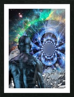 Cyborg in Surreal Space Picture Frame print
