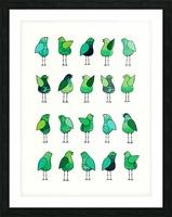 Gossip Birds Green Picture Frame print