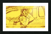 A drawing Of Elvis Presley In a Car Painted Yellow.    Picture Frame print
