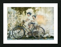 Kid And His Sister On A  Bicycle  Painting   Picture Frame print
