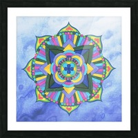 Hand Painted Mandala Watercolor Meditation on Blue Picture Frame print