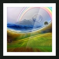 Painterly Peaceful Landscape Picture Frame print