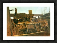 Boat at the dock by Bierstadt Picture Frame print