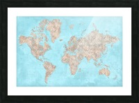 highly detailed watercolor world map in neutrals and light blue Picture Frame print