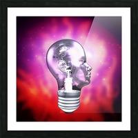 Human Light Bulb Head Picture Frame print