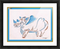 Do Rhinos Come in Blue Picture Frame print