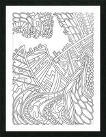 Wandering Abstract Line Art 01: Black & White Picture Frame print