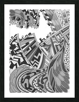 Wandering Abstract Line Art 01: Grayscale Picture Frame print