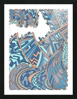Wandering Abstract Line Art 01: Blue Picture Frame print