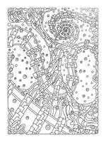 Wandering Abstract Line Art 02: Black & White Picture Frame print
