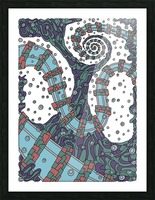 Wandering Abstract Line Art 02: Blue Picture Frame print
