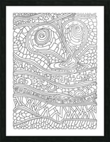 Wandering Abstract Line Art 03: Black & White Picture Frame print