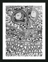 Wandering Abstract Line Art 03: Grayscale Picture Frame print