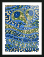 Wandering Abstract Line Art 03: Blue Picture Frame print