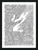Wandering Abstract Line Art 05: Black & White Picture Frame print