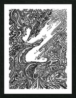 Wandering Abstract Line Art 05: Grayscale Picture Frame print