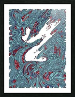 Wandering Abstract Line Art 05: Blue Picture Frame print
