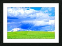 Blue Sky Clouds Field Bright Colorful Scenery Background  Picture Frame print