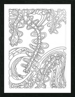 Wandering Abstract Line Art 07: Black & White Picture Frame print