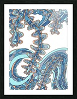 Wandering Abstract Line Art 07: Blue Picture Frame print