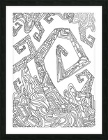 Wandering Abstract Line Art 08: Black & White Picture Frame print