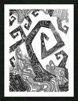 Wandering Abstract Line Art 08: Grayscale Picture Frame print