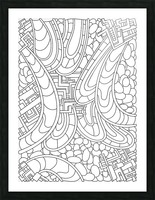Wandering Abstract Line Art 09: Black & White Picture Frame print