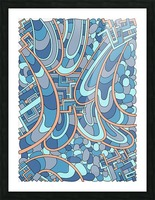 Wandering Abstract Line Art 09: Blue Picture Frame print