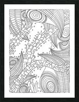 Wandering 10: black & white line art Picture Frame print