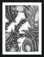 Wandering Abstract Line Art 10: Grayscale Picture Frame print