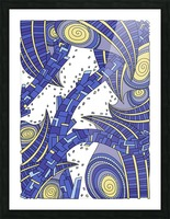 Wandering Abstract Line Art 10: Sapphire Picture Frame print
