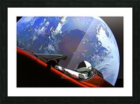 StarMan in Tesla Above Planet Earth Picture Frame print