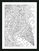 Wandering Abstract Line Art 11: Black & White Picture Frame print