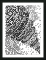 Wandering Abstract Line Art 11: Grayscale Picture Frame print