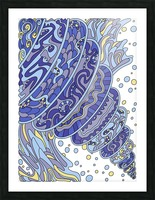 Wandering Abstract Line Art 11: Blue Picture Frame print
