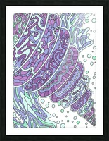 Wandering Abstract Line Art 11: Purple Picture Frame print