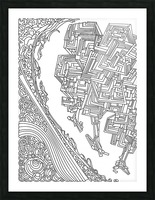 Wandering Abstract Line Art 12: Black & White Picture Frame print