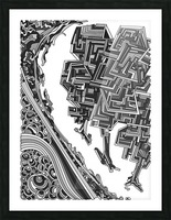 Wandering Abstract Line Art 12: Grayscale Picture Frame print