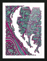 Wandering Abstract Line Art 12: Magenta Picture Frame print