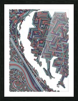Wandering Abstract Line Art 12: Red Picture Frame print