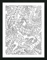Wandering Abstract Line Art 13: Black & White Picture Frame print