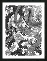 Wandering Abstract Line Art 13: Grayscale Picture Frame print