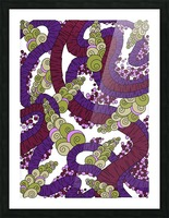 Wandering Abstract Line Art 13: Burgundy Picture Frame print